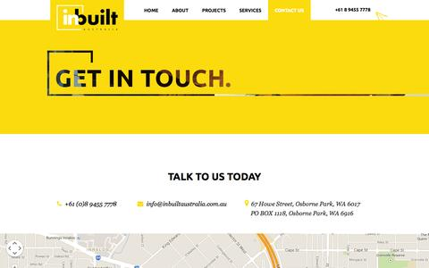Screenshot of Contact Page inbuiltaustralia.com.au - InBuilt Contact Us | Talk to InBuilt or Send InBuilt Your Inquiries - captured Sept. 30, 2014