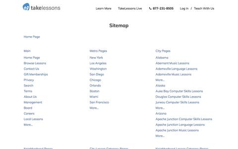 Screenshot of Site Map Page takelessons.com - Sitemap   TakeLessons - Local Music & Singing Lessons - captured Feb. 19, 2020