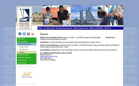 Screenshot of Hours Page bayshorecenter.org - Hours | Bayshore Center At Bivalve - captured Oct. 5, 2014