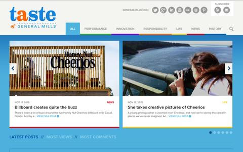 Screenshot of Blog generalmills.com - A Taste of General Mills | The official General Mills blog, featuring news and information about the company. - captured Nov. 18, 2015