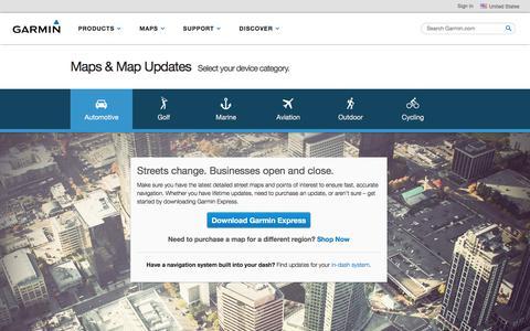 Screenshot of Maps & Directions Page garmin.com - Maps & Map Updates   Garmin   United States - captured Oct. 19, 2017