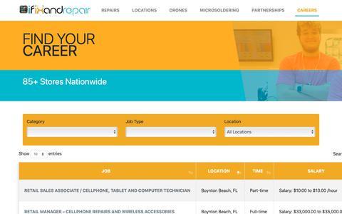 Screenshot of Jobs Page ifixandrepair.com - Career – iFixandRepair - captured June 11, 2019