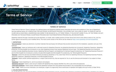 Screenshot of Terms Page splashtop.com - Terms of Service - Splashtop Inc. - captured Nov. 3, 2019