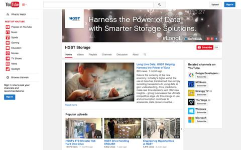 Screenshot of YouTube Page youtube.com - HGST Storage  - YouTube - captured Oct. 22, 2014