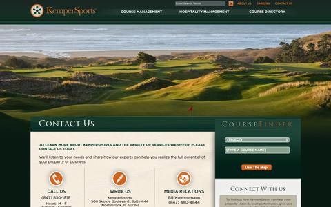 Screenshot of Contact Page kempersports.com - Golf Course Management | Hospitality Management | KemperSports - captured Sept. 28, 2018