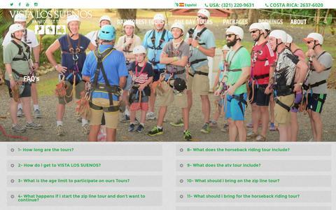 Screenshot of FAQ Page canopyvistalossuenos.com - FAQ TOURS VISTA LOS SUENOS COSTA RICA - RAINFOREST TOURS - captured Dec. 15, 2016