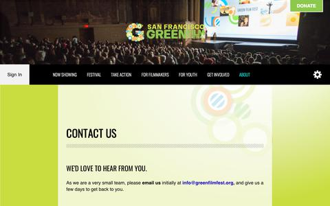Screenshot of Contact Page greenfilmfest.org - Contact Us - San Francisco Green Film Festival - captured Oct. 2, 2018