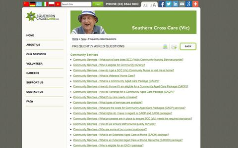 Screenshot of FAQ Page southern-cross.org.au - Frequently Asked Questions | SOUTHERN CROSS CARE (Vic) - captured Oct. 7, 2014