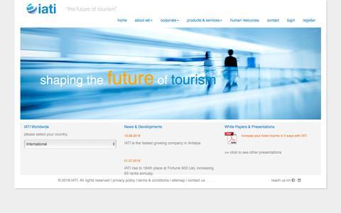 Screenshot of Home Page iati.com - IATI | the future of tourism - captured Jan. 4, 2017