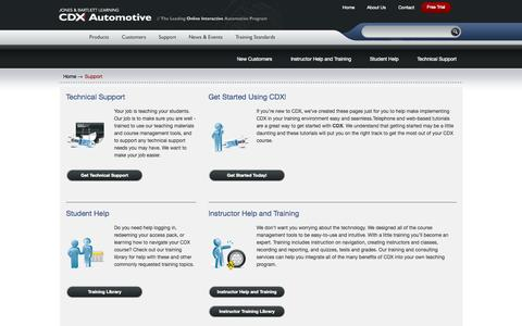 Screenshot of Support Page cdxauto.com - Support - captured Oct. 4, 2014