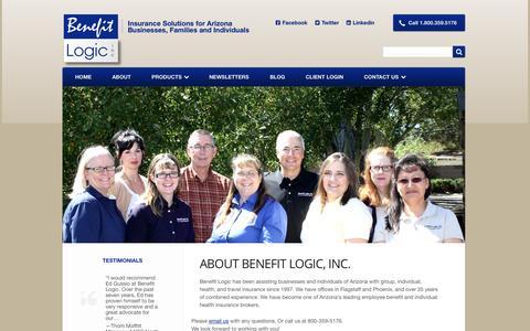 Screenshot of About Page benefitlogic.net - About Benefit Logic - Benefit Logic, Inc. - captured Oct. 5, 2014