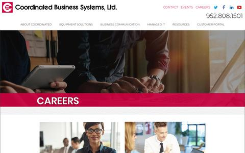 Screenshot of Jobs Page coordinated.com - Careers | Join the Coordinated Business Systems Team - captured Feb. 2, 2019
