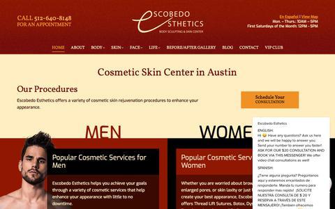 Screenshot of Home Page escobedoesthetics.com - Cosmetic Skin Center - Escobedo Esthetics - Austin TX - captured July 20, 2018
