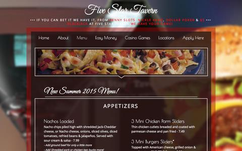 Screenshot of Menu Page fivestartavern.com - Menu | Five Star Tavern, Nevada - captured Nov. 25, 2016
