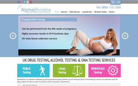 Screenshot of Home Page alphabiolabs.co.uk - DNA Testing   Drug Testing   Alcohol Testing   AlphaBiolabs - captured Dec. 24, 2015