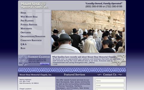 Screenshot of Home Page msmc.us - Jewish Funeral Services in Brunswick New Jersey NJ, Monroe Township, Marlboro, Manalapan, and Princeton | Mount Sinai Memorial Chapels - captured Oct. 7, 2014