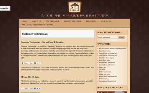 Screenshot of Testimonials Page ahawkesrealtors.com - Testimonials | Adolphus Hawkes Realtors - captured Oct. 8, 2014