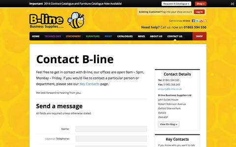 Screenshot of Contact Page b-line.co.uk - Contact us - B-line Business Supplies - b-line.co.uk - captured Oct. 2, 2014