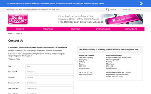 Screenshot of Contact Page dental-directory.co.uk - The Dental Directory : Contact Us - captured Feb. 15, 2016