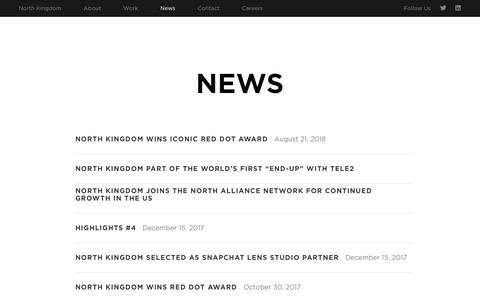 Screenshot of Press Page northkingdom.com - News › North Kingdom - captured Sept. 20, 2018