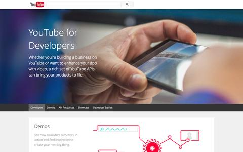Screenshot of Developers Page youtube.com - YouTube for Developers - YouTube - captured Oct. 22, 2014