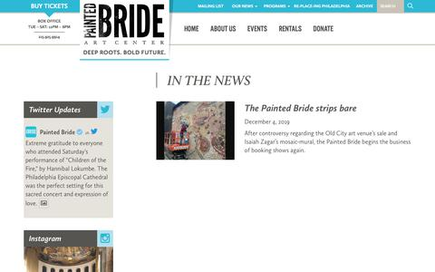Screenshot of Press Page paintedbride.org - In The News Archive - Painted Bride - captured Dec. 9, 2019