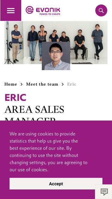 Screenshot of Team Page  evonik.com - Eric                                                                - Evonik Careers