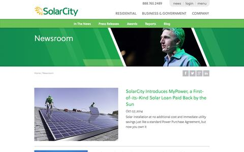 Screenshot of Press Page solarcity.com - Solar News Stories - Solar News for Renewable Energy | SolarCity - captured Oct. 10, 2014
