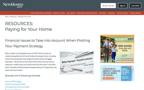 Paying for Your Home, Financial Issues to Take Into Account When Plotting Your Payment Strategy - New Homes Guide