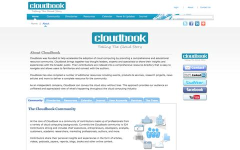 Screenshot of About Page Contact Page cloudbook.net - About Cloudbook: The Cloud Computing Information Resource - captured Oct. 22, 2014
