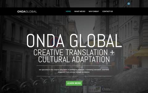 Screenshot of Home Page ondaglobal.com - Creative Translation & Localization Specialists | Onda Global - captured Sept. 30, 2014