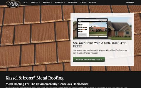 Screenshot of Home Page kasselandirons.com - Metal Roofing - captured April 20, 2016