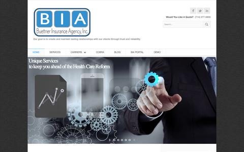 Screenshot of Home Page biabenefits.com - Home « BIA Benefits | Buettner Insurance Agency - captured Oct. 5, 2014