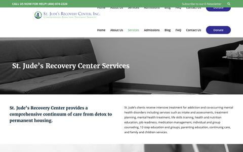 Screenshot of Services Page stjudesrecovery.org - St. Jude's Recovery Center Services – St. Jude's Recovery Center, Inc. - captured Oct. 23, 2017