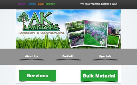 Screenshot of Home Page ak-lawncare.com - AK Lawn Care, Landscaping and Snow Removal - captured Feb. 4, 2016