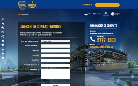 Screenshot of Contact Page bocajuniors.com.ar - Boca - Contact Us - captured Sept. 22, 2014
