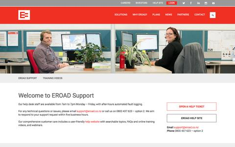 Screenshot of Support Page eroad.co.nz - Tech support and customer care  | EROAD - captured Sept. 26, 2018