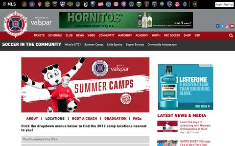 Screenshot of Locations Page chicago-fire.com - Summer Camps | Locations | Chicago Fire - captured May 1, 2017