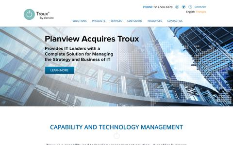 Screenshot of Press Page troux.com - Troux by Planview | Capability and Technology Management Solutions - captured Jan. 16, 2016