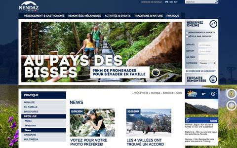 Screenshot of Press Page nendaz.ch - News :: Nendaz :: Tourisme :: Valais :: Suisse - captured Sept. 22, 2014