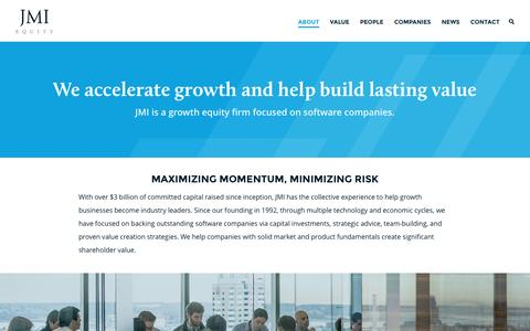 Screenshot of About Page jmi.com - JMI Equity – About - captured Nov. 18, 2016
