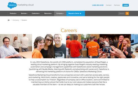 Screenshot of Jobs Page exacttarget.com - Salesforce Marketing Cloud Careers - captured Nov. 6, 2015