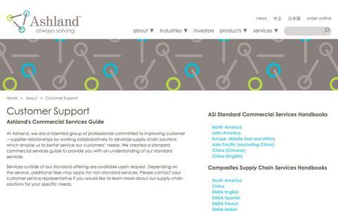 Screenshot of Support Page ashland.com - Ashland | Customer Support - captured June 20, 2018