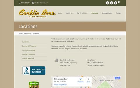 Screenshot of Locations Page conklinbros.com - Our Locations | Conklin Bros. Flooring - captured Sept. 30, 2014