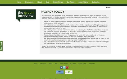 Screenshot of Privacy Page thegreeninterview.com - PRIVACY POLICY - The Green Interview - captured Oct. 9, 2014