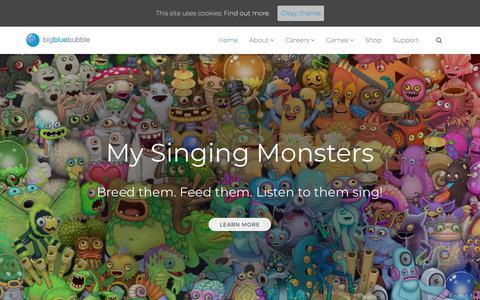 Screenshot of Home Page bigbluebubble.com - Big Blue Bubble – Inspiring Worlds of Creativity. - captured Aug. 2, 2018