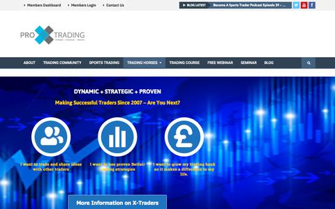 Screenshot of Home Page proxtrading.com - Pro X Trading: Learn Betfair Trading Strategies & Techniques - captured Sept. 18, 2015