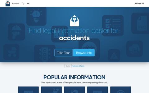 Screenshot of Home Page rsvplaw.com - RSVP Law - Find Legal Information Easier - captured Jan. 11, 2016