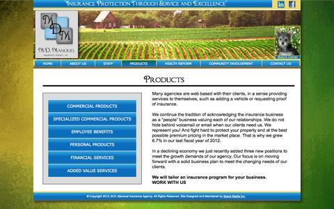 Screenshot of Products Page mdmig.com - M.D. Manouel Insurance Agency | Fresno, CA | Yuba City, CA | Products - captured Oct. 23, 2014