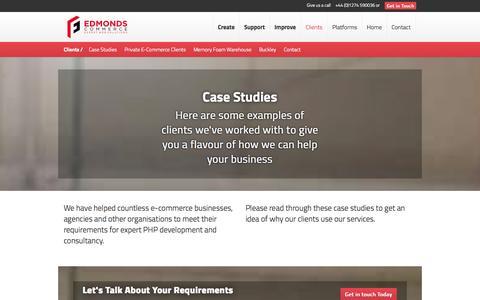 Screenshot of Case Studies Page edmondscommerce.co.uk - Clients | Edmonds Commerce - captured Sept. 22, 2014